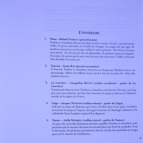 Table des matières du Voyage en Oïlie où l'on trouve un descriptif de l'histoire imaginée par J. Boitte